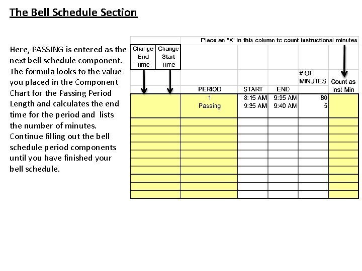 The Bell Schedule Section Here, PASSING is entered as the next bell schedule component.