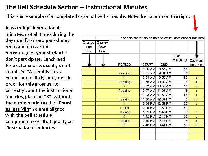 The Bell Schedule Section – Instructional Minutes This is an example of a completed