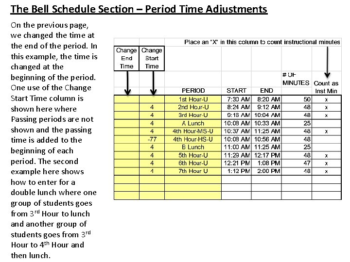 The Bell Schedule Section – Period Time Adjustments On the previous page, we changed