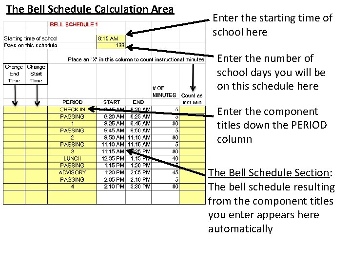 The Bell Schedule Calculation Area Enter the starting time of school here Enter the