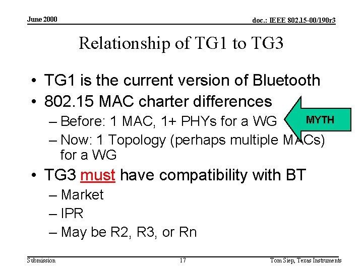 June 2000 doc. : IEEE 802. 15 -00/190 r 3 Relationship of TG 1