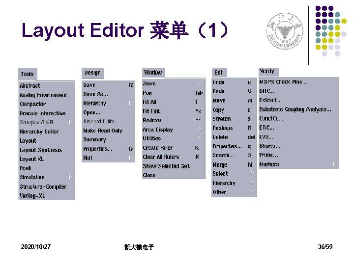 Layout Editor 菜单(1) 2020/10/27 浙大微电子 36/59