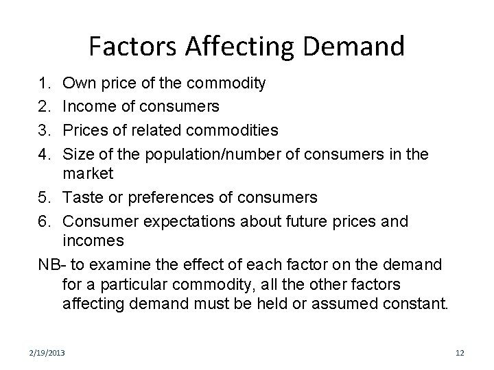 Factors Affecting Demand 1. 2. 3. 4. Own price of the commodity Income of