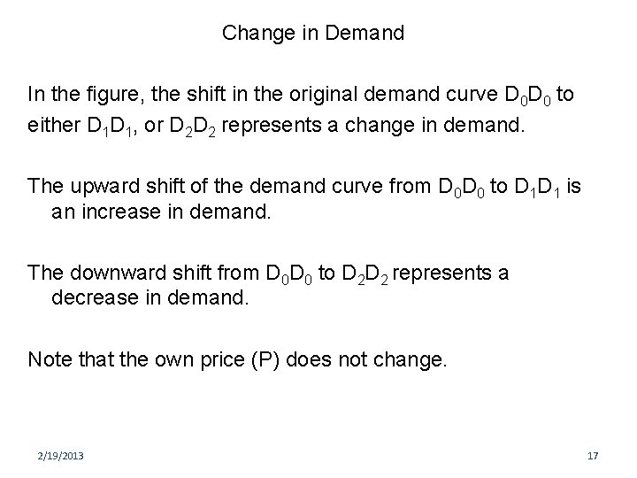Change in Demand In the figure, the shift in the original demand curve D