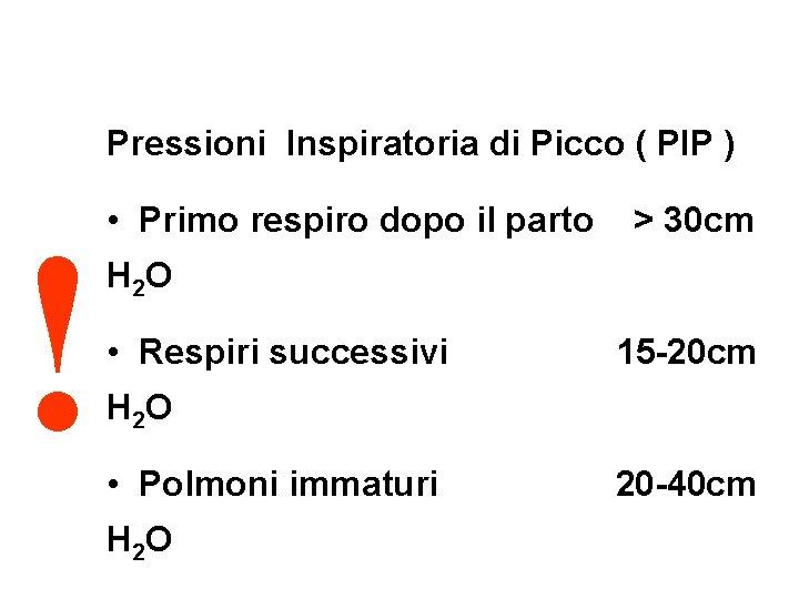 Pressioni Inspiratoria di Picco ( PIP ) ! • Primo respiro dopo il parto