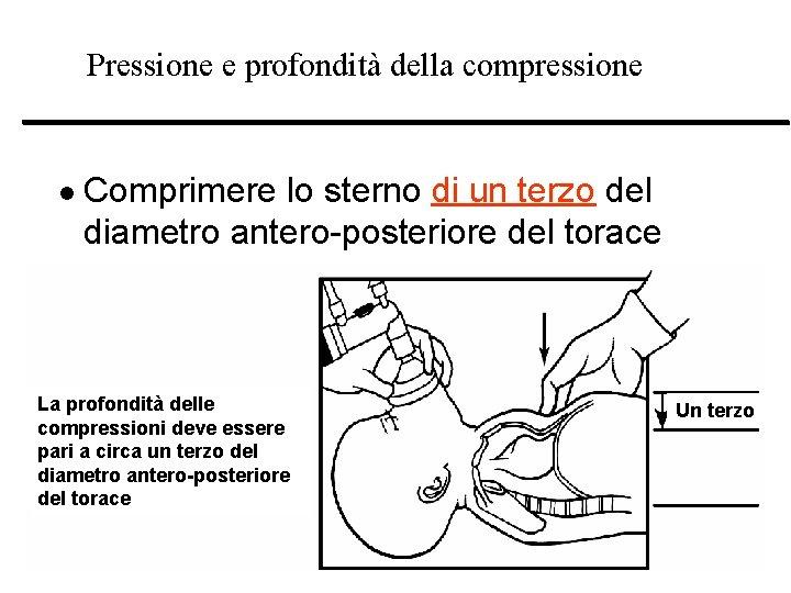 Pressione e profondità della compressione l Comprimere lo sterno di un terzo del diametro