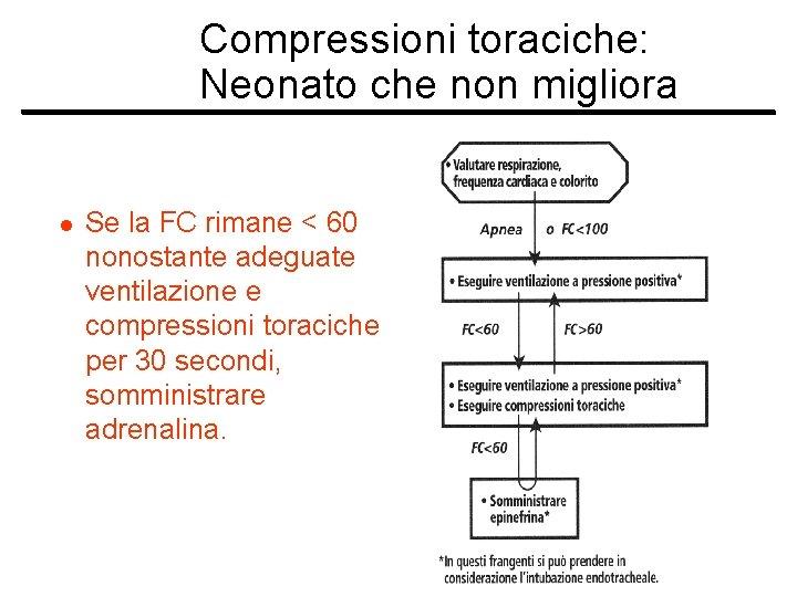 Compressioni toraciche: Neonato che non migliora l Se la FC rimane < 60 nonostante