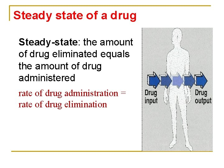 Steady state of a drug Steady-state: the amount of drug eliminated equals the amount