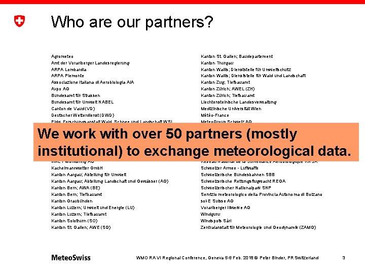 Who are our partners? Agrometeo Amt der Vorarlberger Landesregierung ARPA Lombardia ARPA Piemonte Associazione