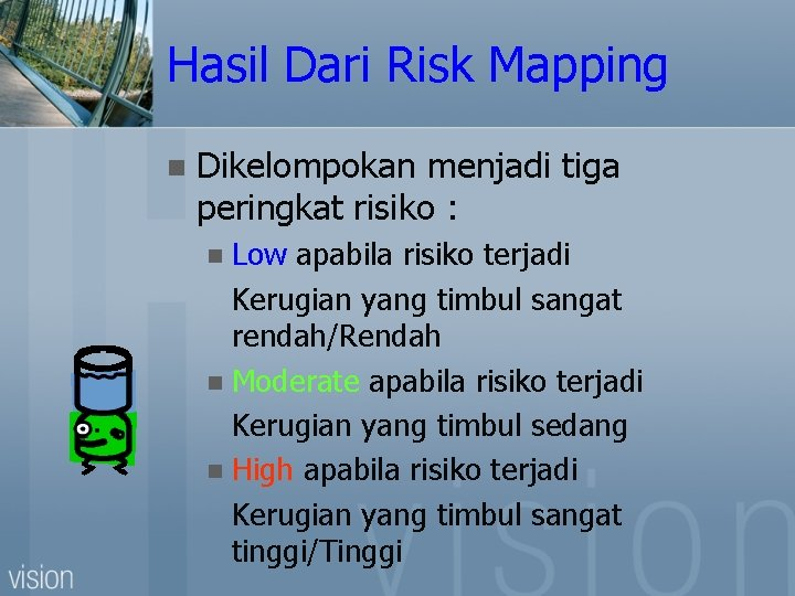 Hasil Dari Risk Mapping n Dikelompokan menjadi tiga peringkat risiko : Low apabila risiko
