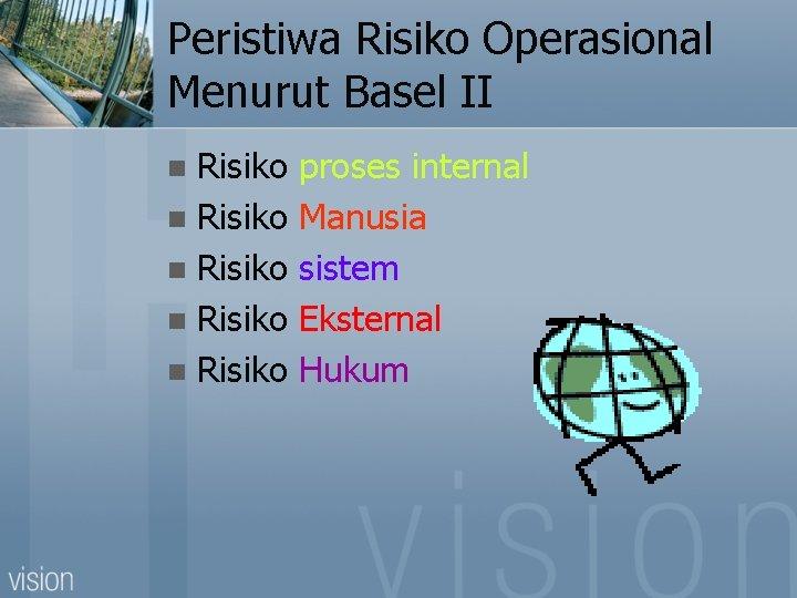 Peristiwa Risiko Operasional Menurut Basel II Risiko n Risiko n proses internal Manusia sistem