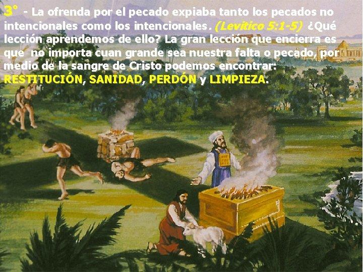 3º - La ofrenda por el pecado expiaba tanto los pecados no intencionales como