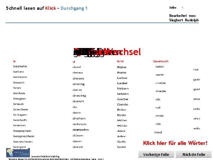 Übungsart: Schnell lesen auf Klick – Durchgang 1 Seite: 4 Bearbeitet von: Siegbert Rudolph