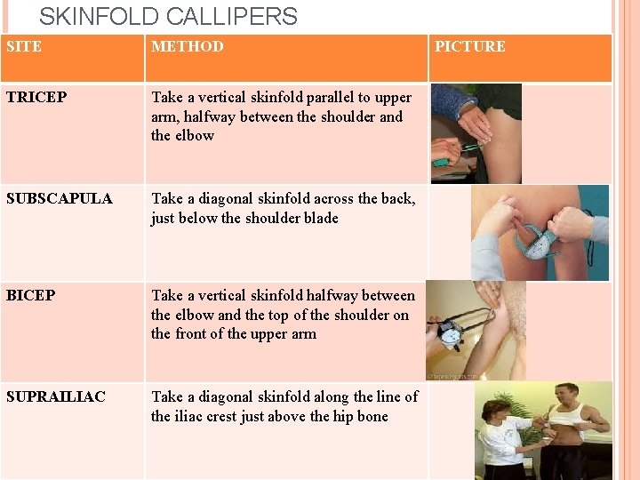 SKINFOLD CALLIPERS SITE METHOD TRICEP Take a vertical skinfold parallel to upper arm, halfway