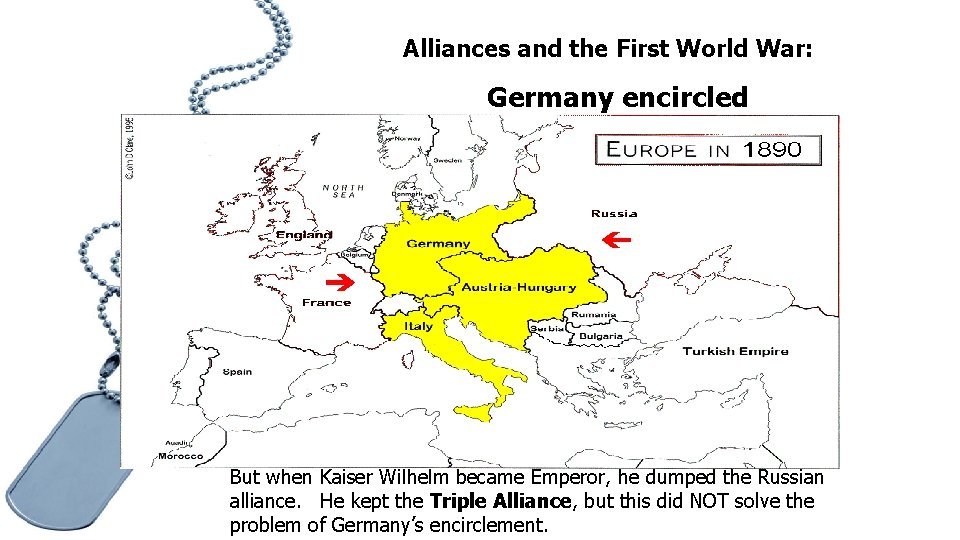 Alliances and the First World War: Germany encircled But when Kaiser Wilhelm became Emperor,
