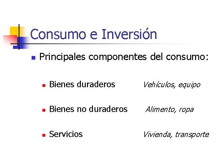 Consumo e Inversión n Principales componentes del consumo: n Bienes duraderos n Bienes no