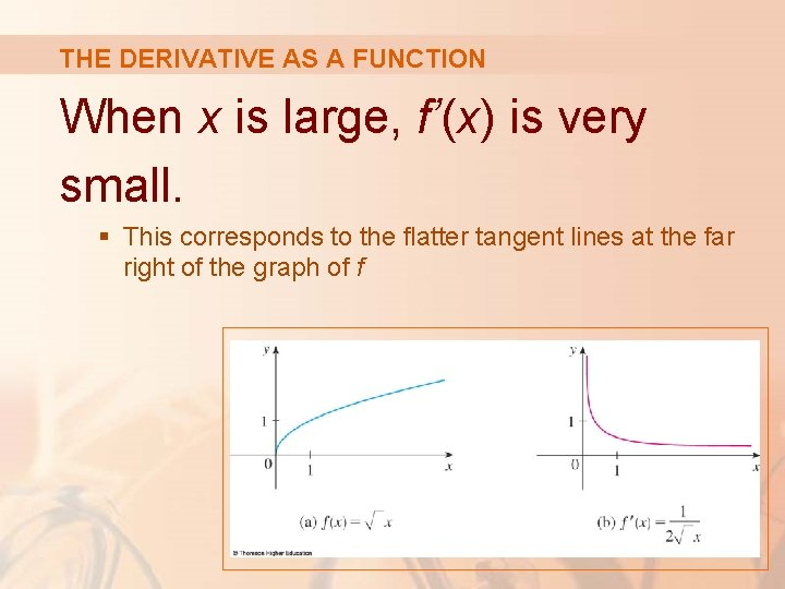 THE DERIVATIVE AS A FUNCTION When x is large, f'(x) is very small. §