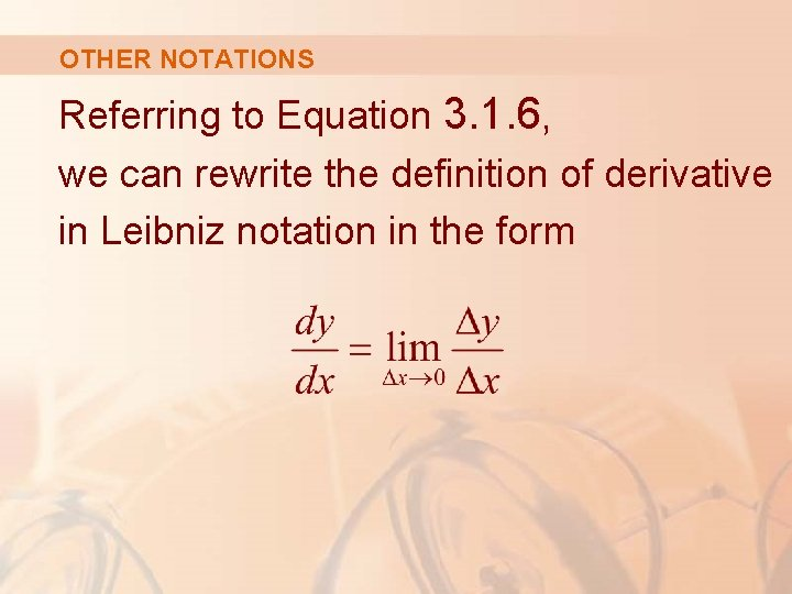 OTHER NOTATIONS Referring to Equation 3. 1. 6, we can rewrite the definition of