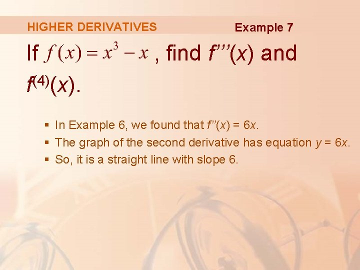 HIGHER DERIVATIVES If (4) f (x). Example 7 , find f'''(x) and § In