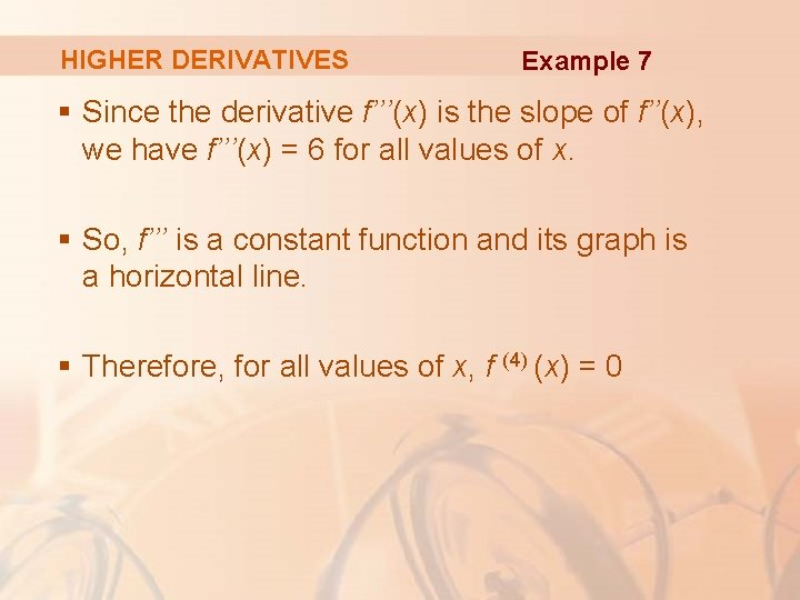 HIGHER DERIVATIVES Example 7 § Since the derivative f'''(x) is the slope of f''(x),