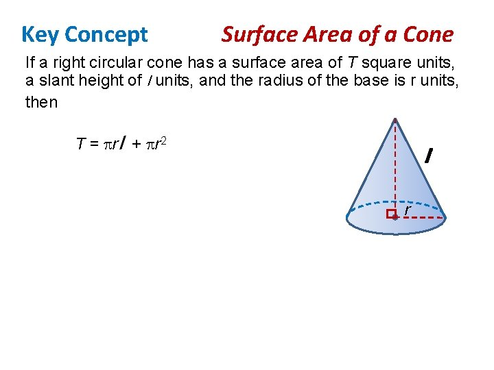 Key Concept Surface Area of a Cone If a right circular cone has a