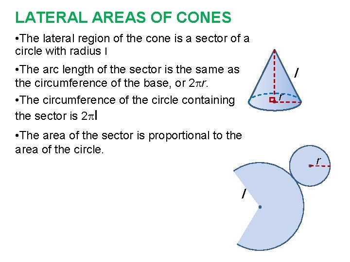 LATERAL AREAS OF CONES • The lateral region of the cone is a sector