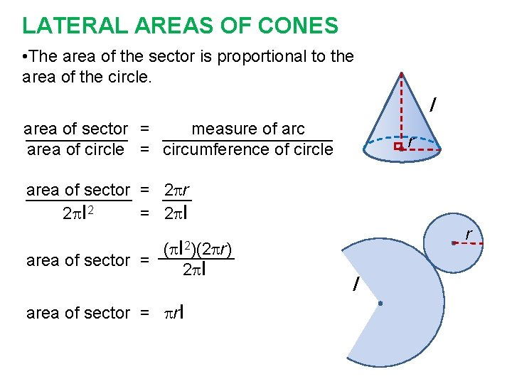 LATERAL AREAS OF CONES • The area of the sector is proportional to the