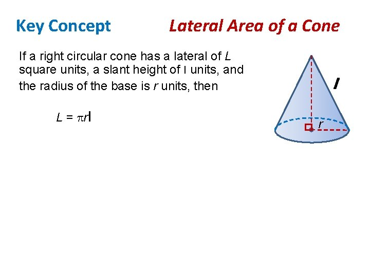 Key Concept Lateral Area of a Cone If a right circular cone has a