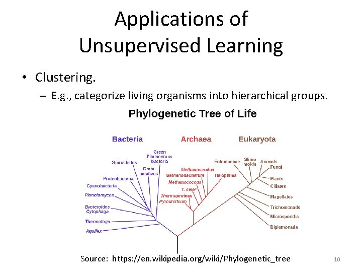 Applications of Unsupervised Learning • Clustering. – E. g. , categorize living organisms into