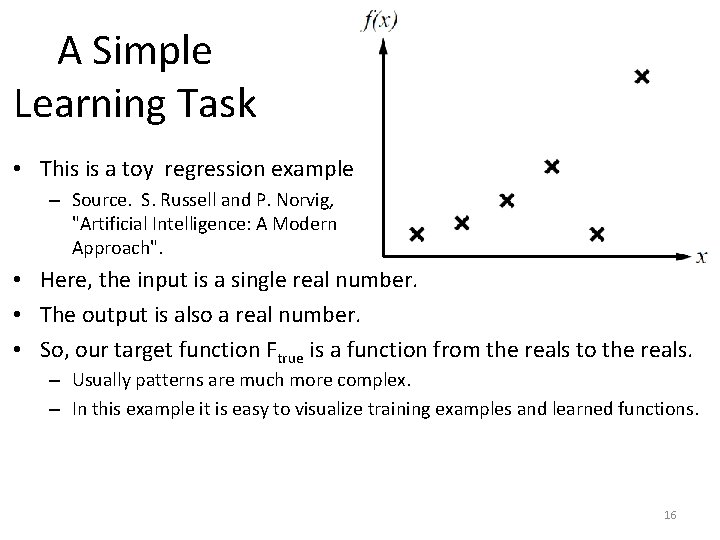 A Simple Learning Task • This is a toy regression example. . – Source.