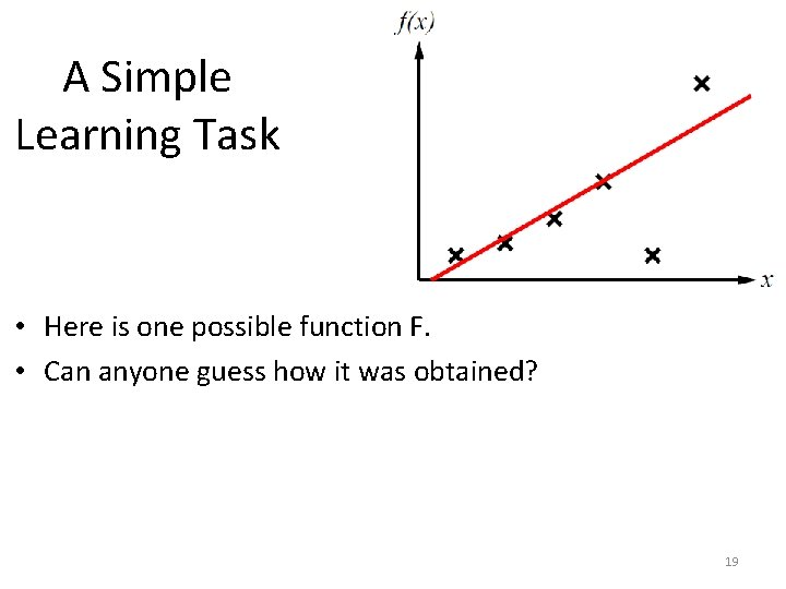 A Simple Learning Task • Here is one possible function F. • Can anyone