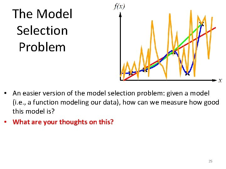 The Model Selection Problem • An easier version of the model selection problem: given