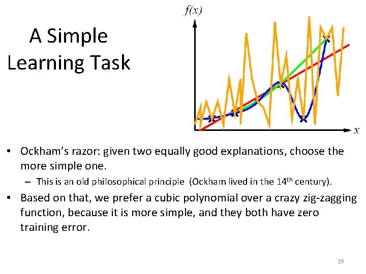 A Simple Learning Task • Ockham's razor: given two equally good explanations, choose the