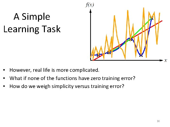 A Simple Learning Task • However, real life is more complicated. • What if