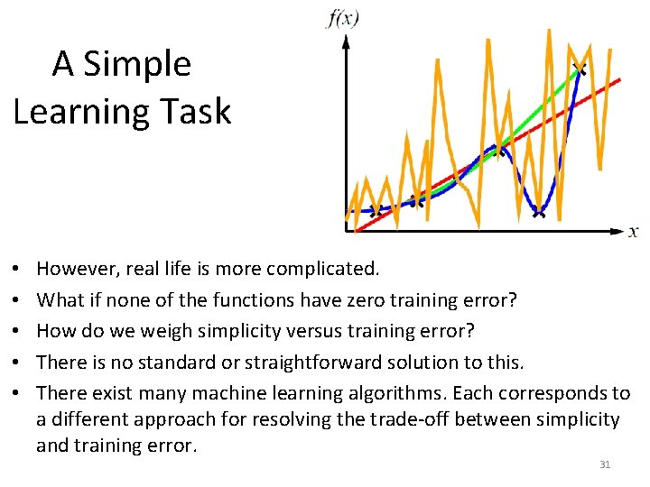 A Simple Learning Task • • • However, real life is more complicated. What