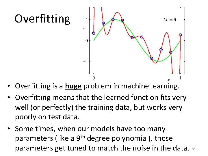 Overfitting • Overfitting is a huge problem in machine learning. • Overfitting means that