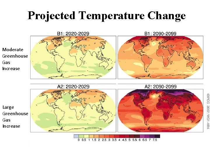 Projected Temperature Change Moderate Greenhouse Gas Increase Large Greenhouse Gas Increase