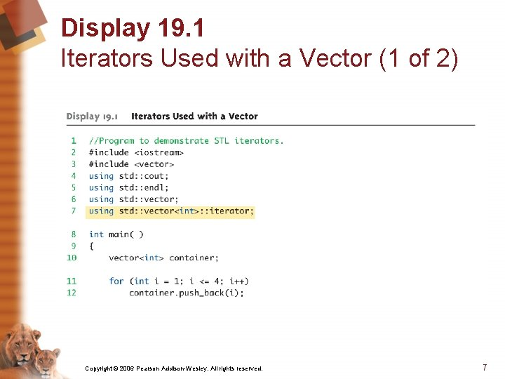 Display 19. 1 Iterators Used with a Vector (1 of 2) Copyright © 2006