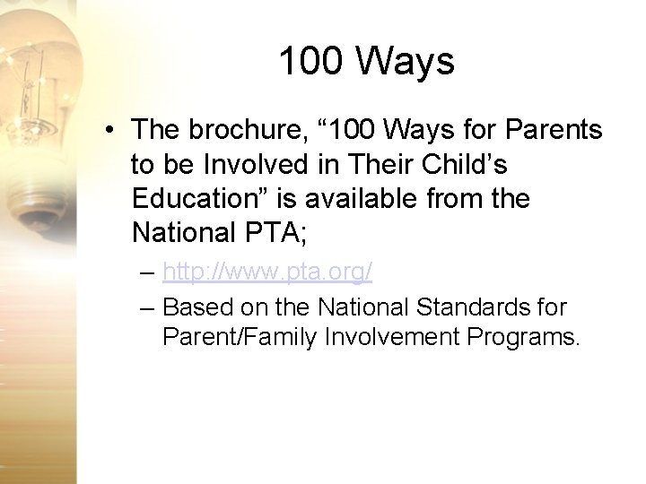 """100 Ways • The brochure, """" 100 Ways for Parents to be Involved in"""