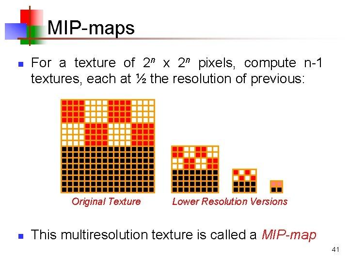 MIP-maps n For a texture of 2 n x 2 n pixels, compute n-1