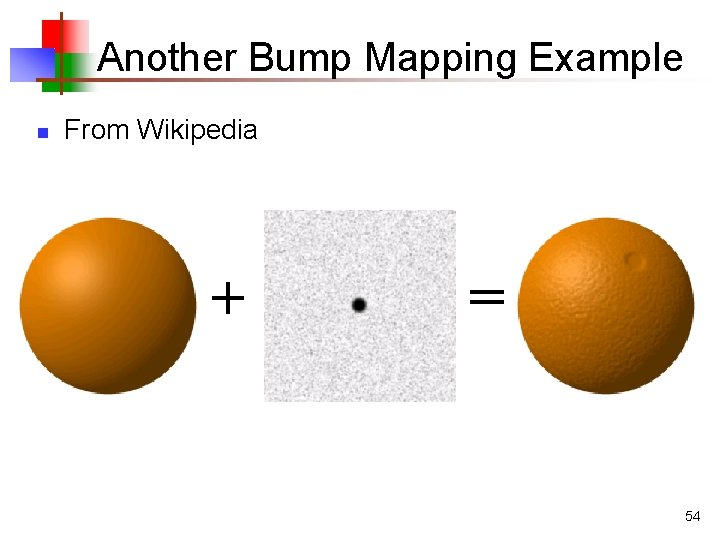 Another Bump Mapping Example n From Wikipedia + = 54