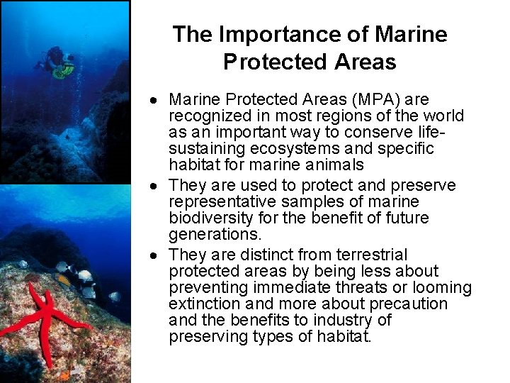 The Importance of Marine Protected Areas (MPA) are recognized in most regions of the