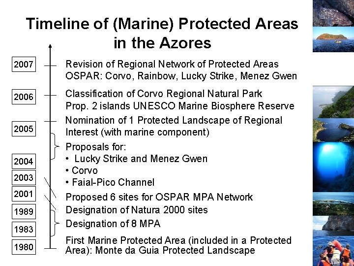 Timeline of (Marine) Protected Areas in the Azores 2007 Revision of Regional Network of