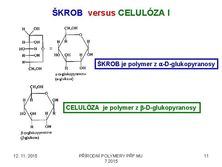 ŠKROB versus CELULÓZA I ŠKROB je polymer z a-D-glukopyranosy CELULÓZA je polymer z b-D-glukopyranosy