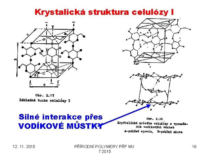 Krystalická struktura celulózy I Silné interakce přes VODÍKOVÉ MŮSTKY 12. 11. 2015 PŘÍRODNÍ POLYMERY