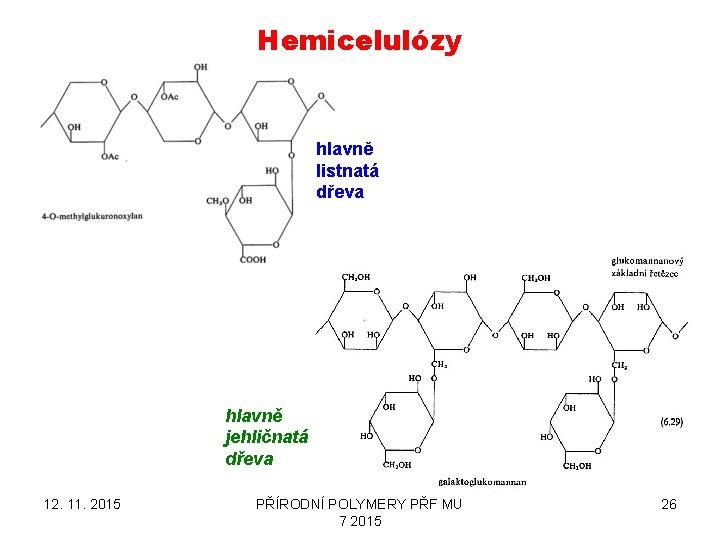 Hemicelulózy hlavně listnatá dřeva hlavně jehličnatá dřeva 12. 11. 2015 PŘÍRODNÍ POLYMERY PŘF MU