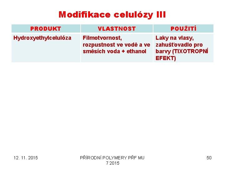 Modifikace celulózy III PRODUKT Hydroxyethylcelulóza 12. 11. 2015 VLASTNOST POUŽITÍ Filmotvornost, Laky na vlasy,