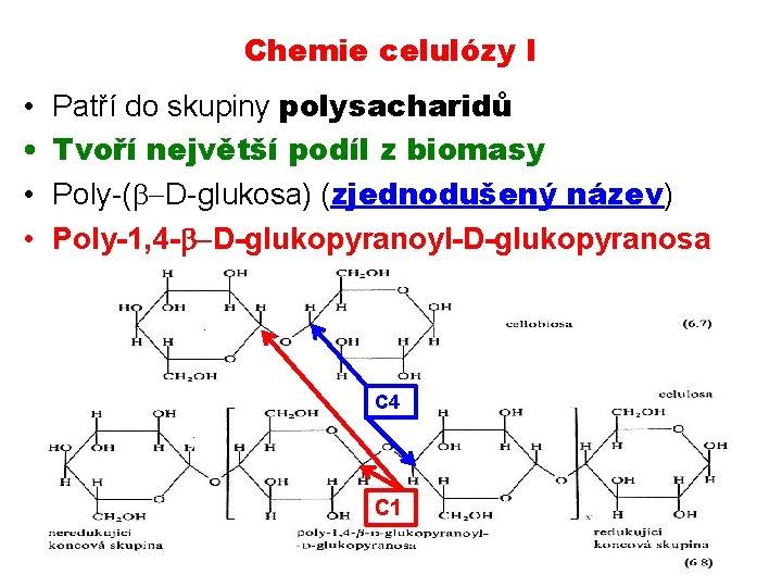 Chemie celulózy I • • Patří do skupiny polysacharidů Tvoří největší podíl z biomasy