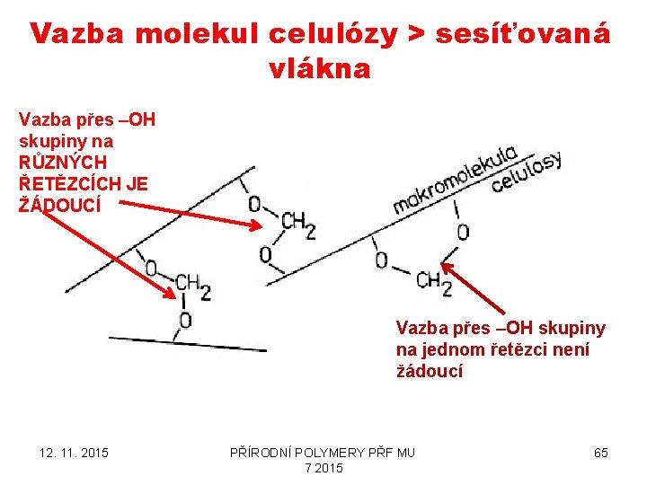 Vazba molekul celulózy > sesíťovaná vlákna Vazba přes –OH skupiny na RŮZNÝCH ŘETĚZCÍCH JE