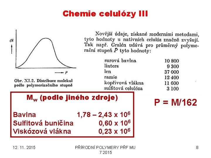 Chemie celulózy III Mw (podle jiného zdroje) P = M/162 Bavlna 1, 78 –
